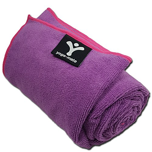 Yoga Mate Soft, Sweat Absorbent, Non-Slip Bikram Yoga Mat Size Towel, Purple | Pink Trim