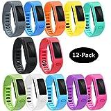 TECKMICO Garmin Vivofit Bands,12PCS Colorful Replacement bands for Garmin Vivofit,NO Tracker,Not for Garmin Vivofit 2/3/JR/HR (Large, 12-Pack)