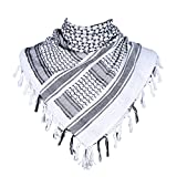 HDE Cotton Arab Desert Tactical Shemagh Keffiyeh Head Neck Cover Fashion Scarf (White)