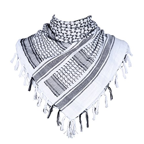HDE Military Shemagh Neck Scarf Desert Tactical Style Head Wrap Keffiyeh Checkered Scarf (White)