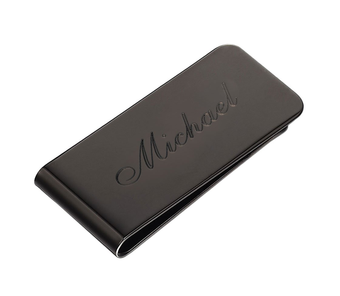 Engraved Polished Gun Stainless Steel Money Clip - Free Engraving on Front Side