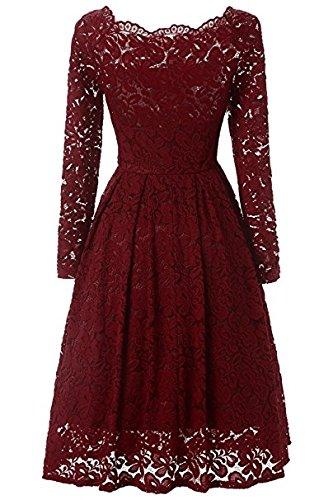 AiniDres women's elegant lace Long Sleeve Boat Neck Cocktail Formal Swing Dress