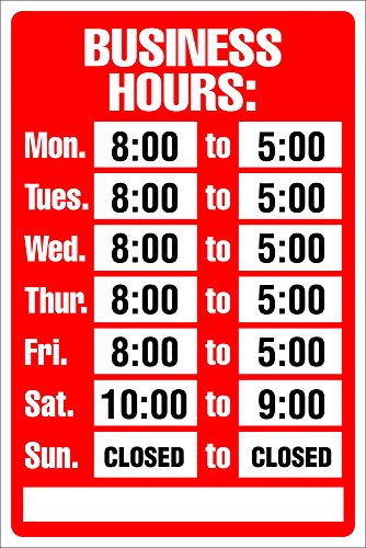 (Cosco Sign Kit, Business Hours, 8 x 12 Inches (098071))