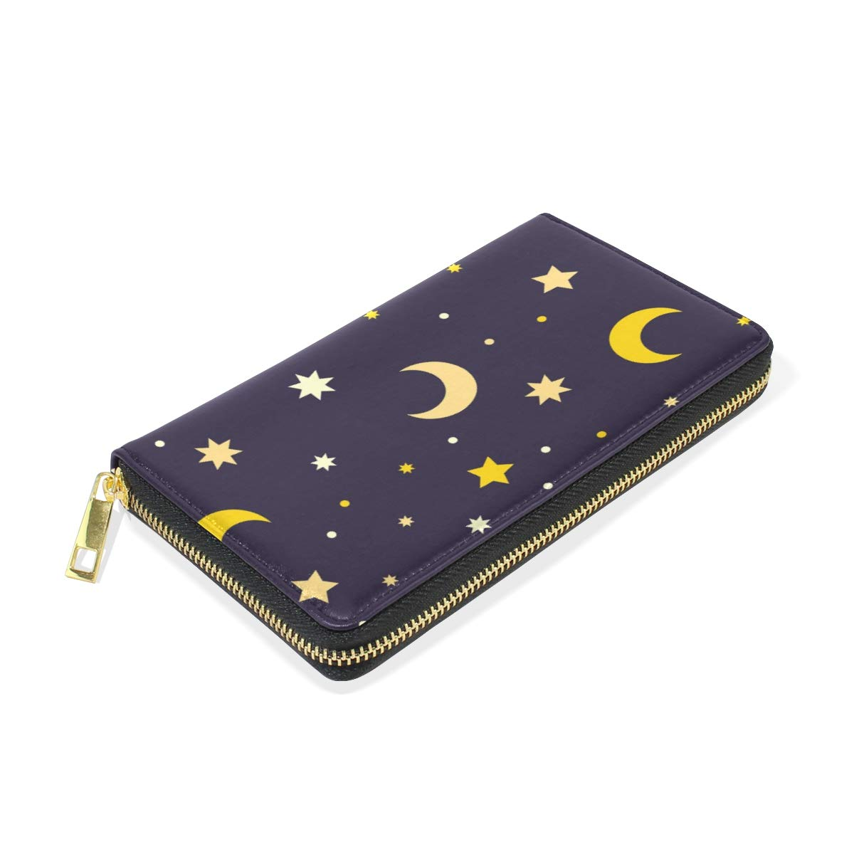 Women Wallet Coin Purse Phone Clutch Pouch Cash Bag Female Girl Card Change Holder Organizer Storage Key Hold Leather Elegant Handbag Party Birthday Gift Star Moon Pattern