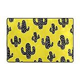 My Little Nest Area Rug Black Cactus Yellow Lightweight Doormat 2' x 3', Memory Sponge Indoor Outdoor Decor Carpet For Entrance Living Room Bedroom Office Kitchen Hallway