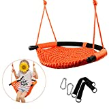 YaeTool Kid Swing Seat Hand-Knit Swing Seat with Adjustable Ropes Perfect for Indoor Camping Playground Backyard for Fun