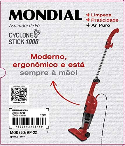4e1270f95 Aspirador de Pó Cyclone Stick MONDIAL Preto Vermelho 600.0 110 V PP   Amazon.com.br  Casa