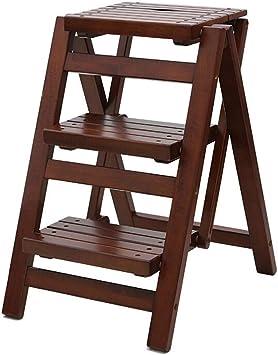JU FU Sólido de paso de madera taburete escalera de mano escalera alta subida banco Paso taburete plegable @@: Amazon.es: Bricolaje y herramientas