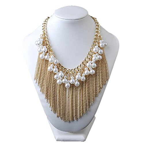 [Sweetime Fashion Charm Jewelry Pendant Faux Pearl Chain Tassels Choker Chunky Statement Bib Necklace] (Makers Mark Costume)