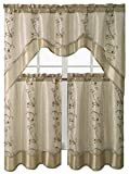 Victoria Classics Daphne Embroidered Kitchen Curtain Set Assorted Colors (Taupe) Review