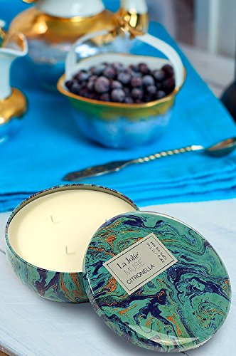 LA JOLIE MUSE Citronella Candles Scented Soy Wax 3 Wick Tin, 70 Hour Burn, Outdoor and Indoor by LA JOLIE MUSE (Image #4)