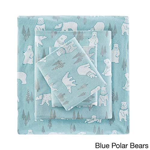 (4 Piece Aqua White Polar Bear Flannel Sheet Queen Set, Blue Arctic Animal Print Bedding Winter Wonderland Themed Bedroom Polka Dot Striped Pine Tree Deep Pocket Comfort Modern Luxury Soft Cotton)