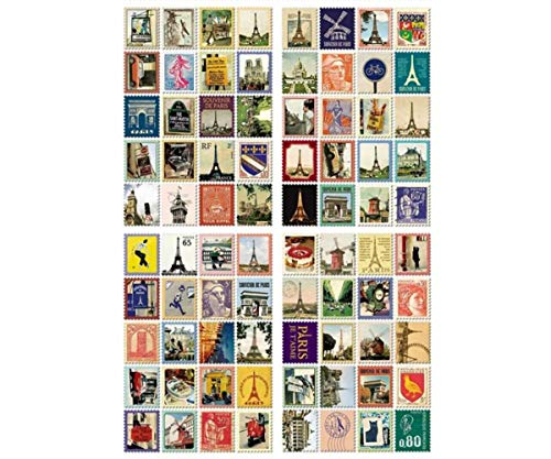 (4 Sheets Set France Paris French Paper Vintage Postal Stamp Decal Craft Stickers Scrapbooking DIY Diary Planner School Supply)