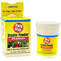 Kwik Stop Styptic Powder Helps Stop Nail Bleeding Fast! for Dogs, Cats & Birds 0.5 oz