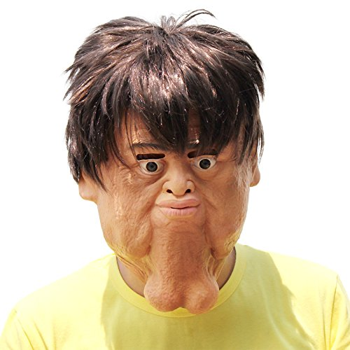- PartyHop - Double Chin Latex Halloween Human Face Funny Mask