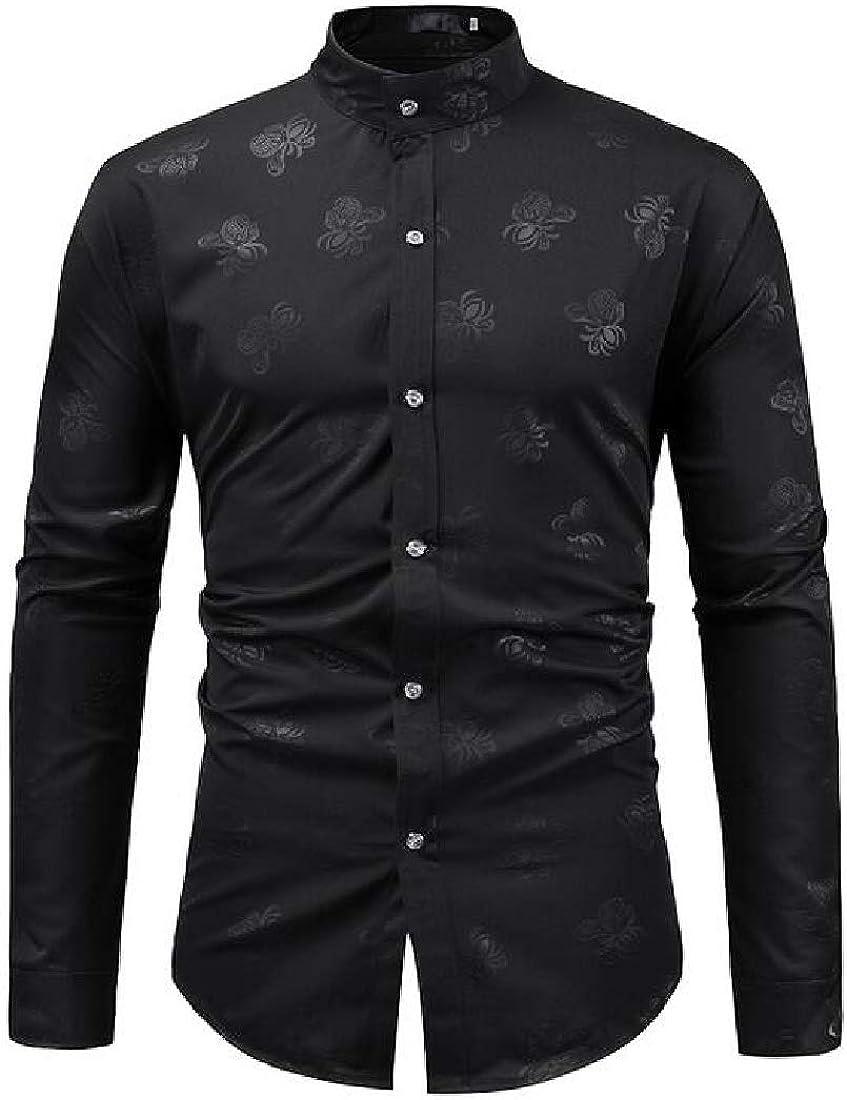 pipigo Mens Business Print Stand Collar Regular Fit Long Sleeve Button Up Dress Work Shirt