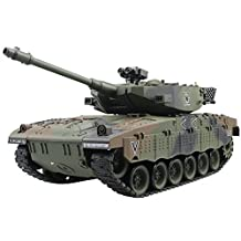Hugine 15 Channel 1/20 RC Tank Israel Merkava Main Battle Tank Model With Shoot Bullet and Tank Sound Effect(Camouflage Green)
