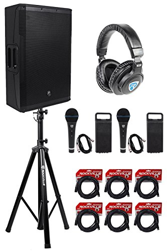Mackie SRM650 1600W 15'' Powered PA Speaker - Bi-Amped+Stand+Headphones+(2) Mics by Mackie