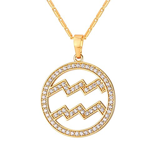 Aquarius Charm Gold Plated - U7 Aquarius Zodiac Pendant Hollow Fashion with Cubic Zirconia Women & Men Birthday Gift Constellation Jewelry 18K Gold Plated Necklace