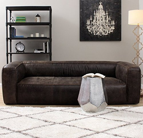 Contemporary Designed Italian Dark Brown Leather Sofa