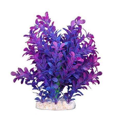 Sonline Planta Artificial Plastico Decoracion para Acuario Pecera Color Purpura Azul: Amazon.es: Hogar