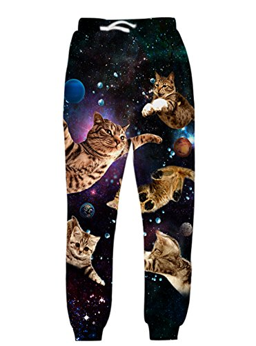 Uideazone Men Cool 3D Digital Printed Cat Sweatpants Casual Long Pants Medium