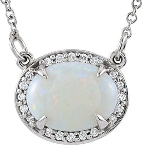14K White Gold Cabochon Opal and Diamond Halo Necklace, 16.5'' by The Men's Jewelry Store (for HER)