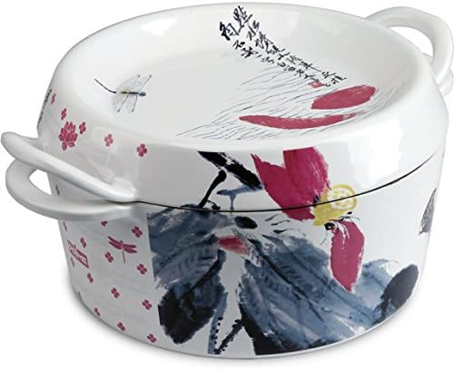 Prime Hand Painted Enameled Cast Iron Dutch Oven Casserole Dish, 4.5-Quart Gift Ideas, White, Lotus