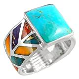 Turquoise Ring Sterling Silver 925 Genuine Turquoise & Gemstones Size 6 to 11 (7)