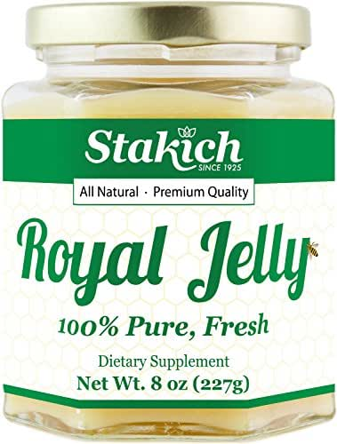 Stakich Fresh Royal Jelly - 100% Pure, All Natural, Highest Quality - No Additives/Flavors/Preservatives Added - 8 oz (227g)