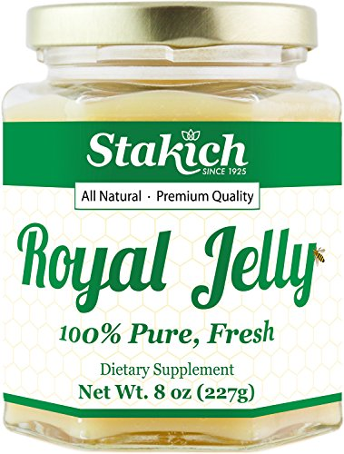 Fresh Royal Jelly - Stakich Fresh Royal Jelly - 100% Pure, All Natural, Highest Quality - No Additives/Flavors/Preservatives Added - 8 oz (227g)