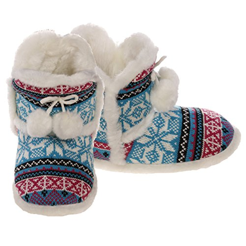 Emmalise Womens Slipper Boots Indoor Lounge Bontschoenen Bont Boots Voor Dames Front Pompom Turquoise / Fuchsia