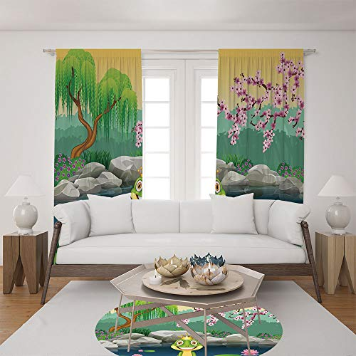 2 Panel Set Satin Window Drapes Living Room Curtains and Round Rug 35.4 inches,Little Frog Prince near Lake on Moss Rock,The perfect combination of curtains and Round Rug makes your living room warmer - Classic Accents Friendly Frogs