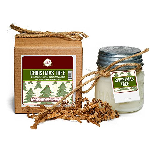 Aira Soy Candles - Organic, Kosher, Vegan, in Mason Jar w/Essential Oils - Hand-Poured 100% Soy Candle Wax - Paraffin Free, Burns 60+ Hours - Holiday Candle - Christmas Tree Scent - 8 Ounces ()