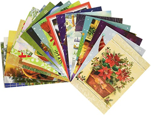 (Traditional Christmas Holiday Greeting Cards, Assorted Designs, 50 Count, 4.625