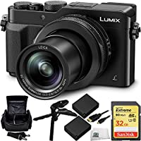 Panasonic Lumix DMC-LX100 Digital Camera (Black) 32GB Bundle 7PC Accessory Kit. Includes SanDisk 32GB Extreme SDHC Memory Card (SDSDXN-032G-G46) + 2 Extended Life Replacement BLG10 Batteries + MORE Basic Intro Review Image