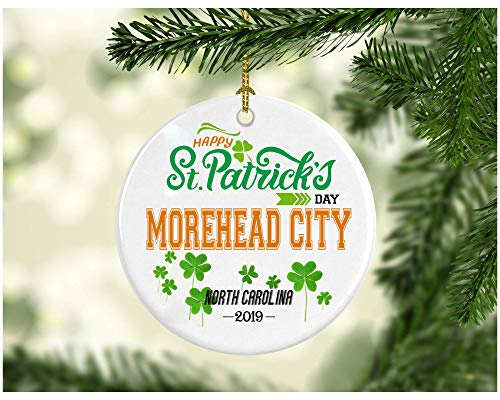 ments Decorations - Personalized Hometown State - St Patricks Day Gifts Morehead City North Carolina - Ceramic 3 Inches ()