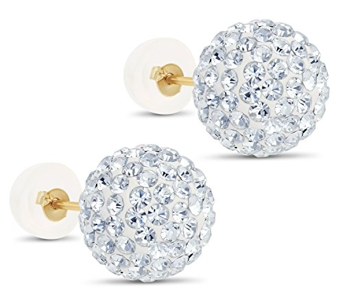 14k Yellow Gold Round Crystal Ball Stud Earrings with Silicone Covered Gold Pushbacks (10mm)
