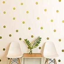 Multicolour Polka Dot Polka Dot Vinyl Wall Decatography Round Circle Wall Sticker Wall Art Nursery Baby Room Decoration. (5cm, 100 points, Gold)