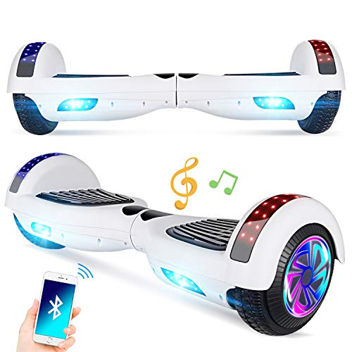 Keepower Hoverboard with Bluetooth Speaker and LED Banner Flashing Lights Two 6.5