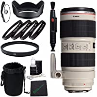 Canon EF 70-200mm f/2.8L IS II USM Lens + 77mm Multicoated UV Filter + LENS CAP 77MM + 77mm Lens Hood + SLR Lens Pouch + Lens Pen Cleaner + Microfiber Cleaning Cloth + Lens Cap Keeper Bundle