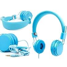 DURAGADGET casque réglable bleu pour enfant, compatible avec lecteurs MP3/MP4, tablettes, smartphones – repliable avec microphone intégré