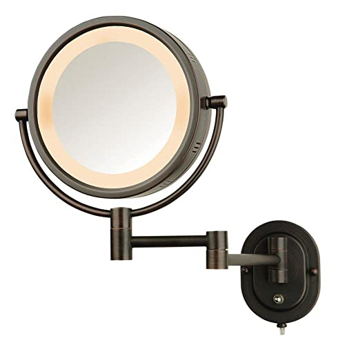 Jerdon 5X Lighted Magnifying Mirror Bronze Plug-in Cord