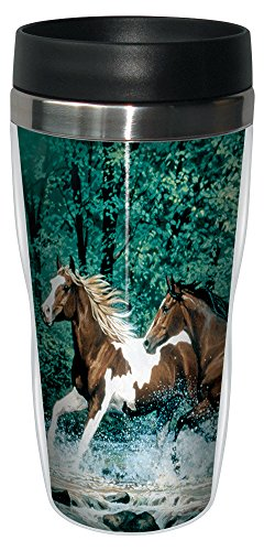 Horse Travel Mugs - Tree-Free Greetings 77009 Spring Creek Run Collectible Art Sip 'N Go Travel Tumbler, 16-Ounce, Stainless Steel, Multicolored