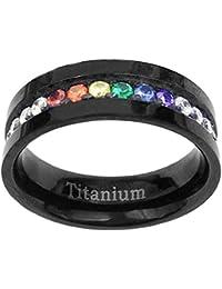 6mm Black Titanium Gay Lesbian Engagement Ring Wedding Band Rainbow CZ Eternity Band Size 5-13 SPJ