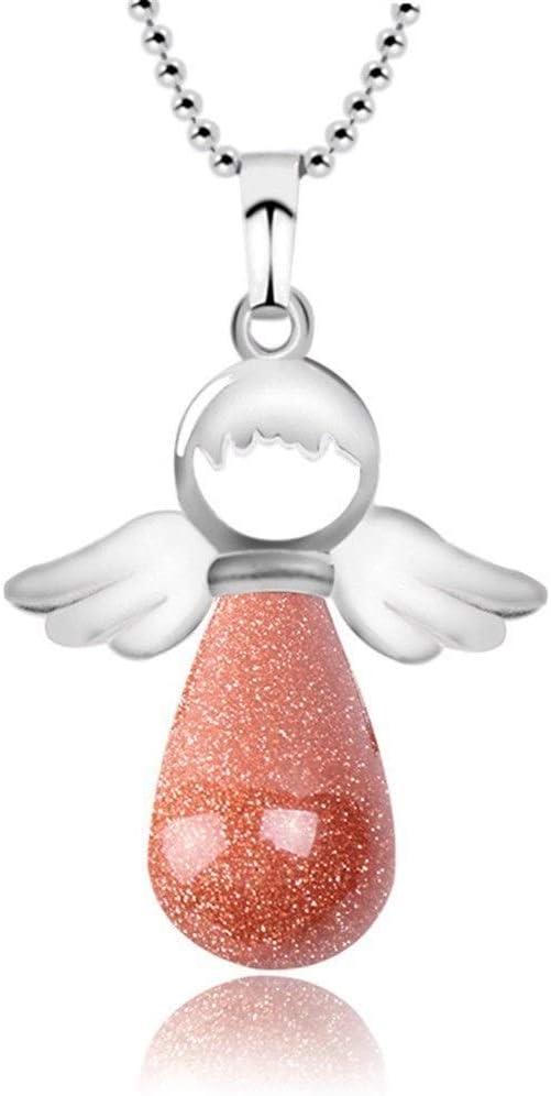 NOBRAND Collar de Piedra Natural de Moda alas de ángel Regalo de Amor de Hadas Colgante Redondo joyería Femenina Joyería Nupcial (Color : BrownSand)