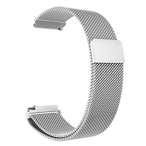 Fintie Galaxy Watch 46mm / Gear S3 Frontier Classic Band [Large], 22mm Milanese Loop Stainless Steel Replacement Smartwatch Bracelet Wrist Strap with [Unique Magnet Lock] for Women Men, Silver