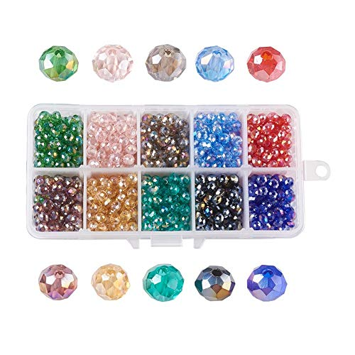(Kissitty Rainbow Mixed 10 Colors 6mm Electroplate AB Color Plated Briolette Transparent Crystal Glass Faceted Rondelle Spacer Loose Beads About 1000pcs with Storage Box)