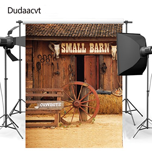 Dudaacvt Old Barn Wood Door Background Photo Portraits Studio Props Photography Backdrops Straw Hay Bale Vinyl For Men Adults 5x7FT 150cm X (Halloween Decorations Using Hay Bales)