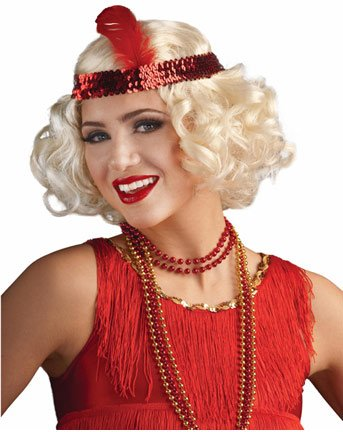 Curly Blonde Flapper Wig with Red (Curly Flapper Wig With Headband)